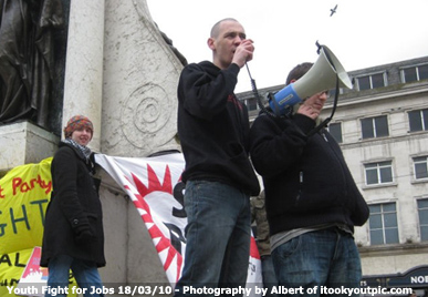 David Henry addresses the Youth Fight for Jobs Rally in Manchester