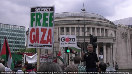 Respect Party Placard at Gaza Demo in Manchester 2010